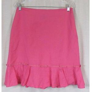 Larry Levine Pink Linen Blend A Line Skirt 10
